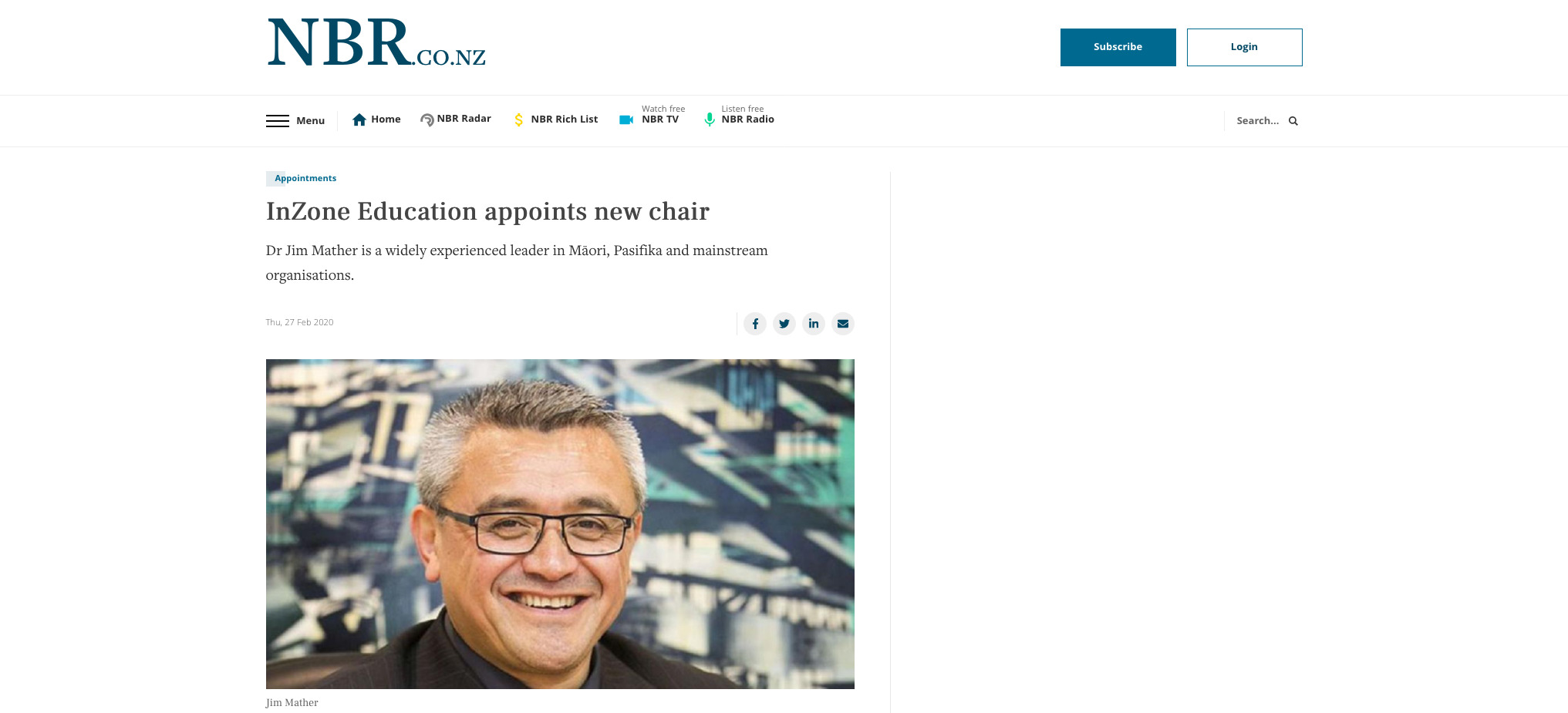 InZone Education appoints new chair